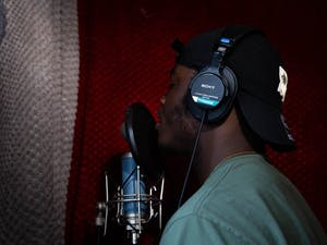 UNC sophomore Shawn Duncan rehearses one of his songs at his home studio in Chapel Hill, NC on Sunday, Jan. 20, 2019. Music has always been Duncan's passion, and he has recently begun uploading his own songs to SoundCloud, a popular steaming site for up-and-coming musicians.