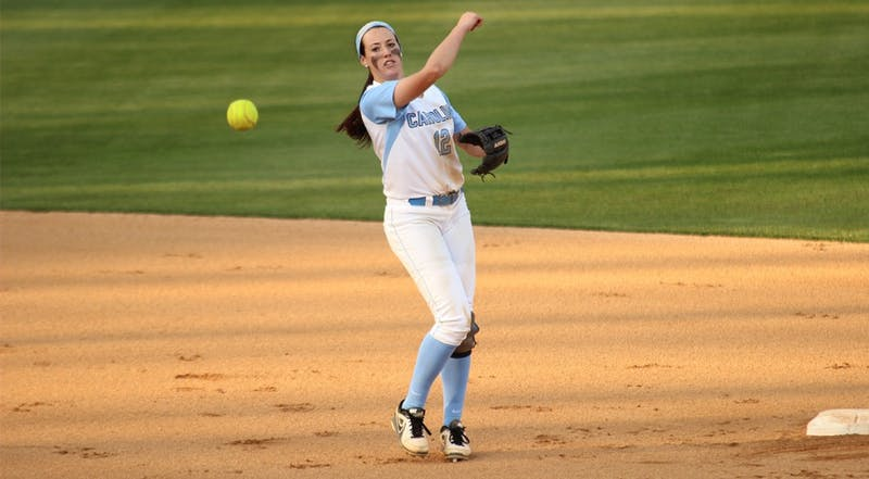 UNC Woman's Softball team lost to Notre Dame 0-8 on Wednesday April 9 for the first of the double-headers. Pictured: No. 12 Kristen Brown, SS, throws to first.