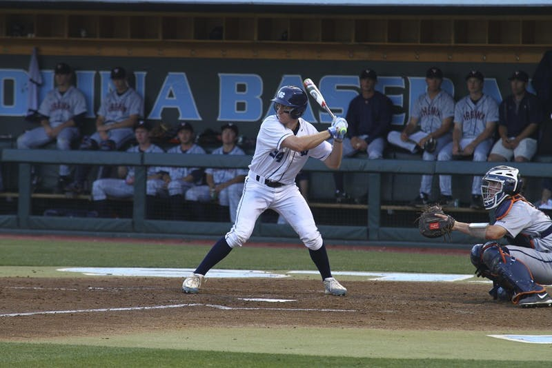 Brian Miller awaits a pitch against Virginia. He finished the regular season with a .298 batting average.