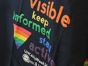 As part of Ally Week, hosted by the Carolina LGBTQ Center, t-shirts were handed out to those willing to show their support and openly wear them this Thursday.