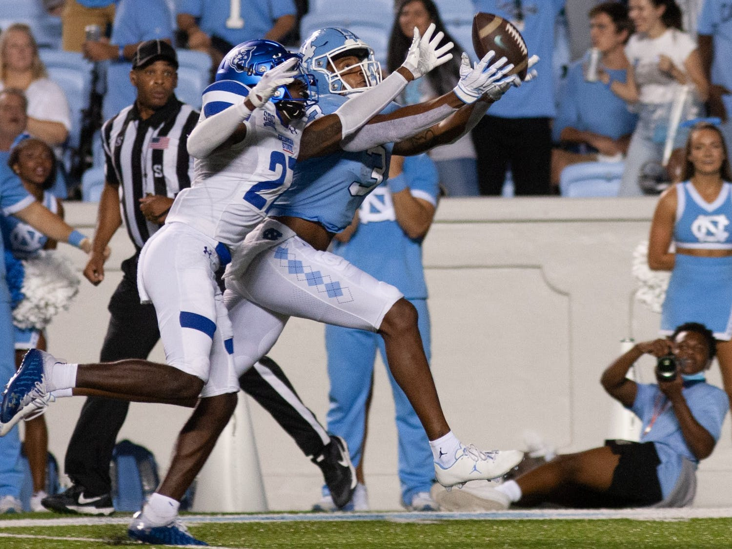 UNC senior wide receiver Antoine Green (3) scores a touchdown at the game against Georgia State on Sept. 11 at Kenan Stadium. UNC 59-17.
