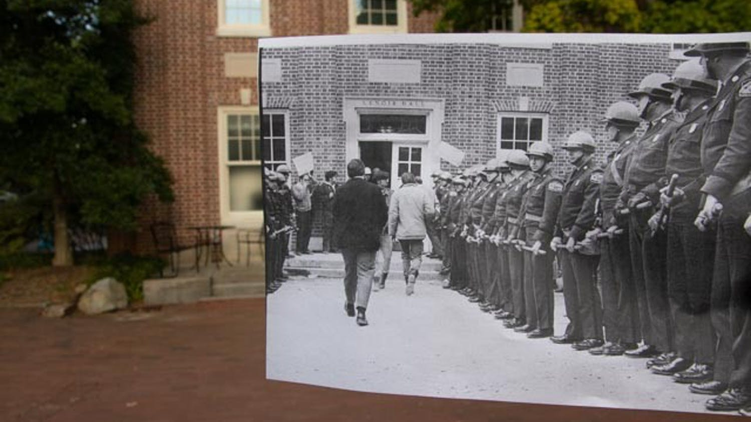Lenoir Hall pictured on Sep. 14 juxtaposed with a photograph by Fil Hunter from the Food Workers' Strike of 1969. In the spring of 1969, dining hall workers went on strike with the support of the Black Student Movement.