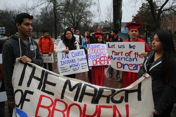 Protesters gathered on Franklin Street for the March of Broken Dreams, the starting point of an 8 hour trek to Raleigh, NC.  The demonstration took place in an effort to bring light to the law that prevents children who were brought to the United States illegally from receiving in-state tuition in college.