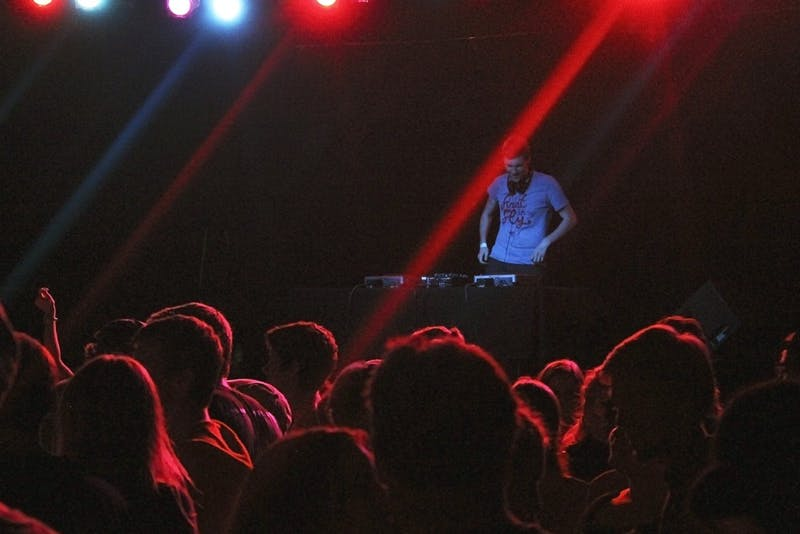 WXYC's held a semi-annual 90s dance party in 2014, featuring student DJ Sam Schaefer. DTH file photo by Johanna Ferebee