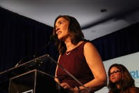 N.C. Supreme Court Associate Justice-Elect Anita Earls delivers her acceptance speech at the election night party for the Democratic Party on Tuesday, Nov. 6, 2018 at the N.C. Democratic headquarters in Raleigh.
