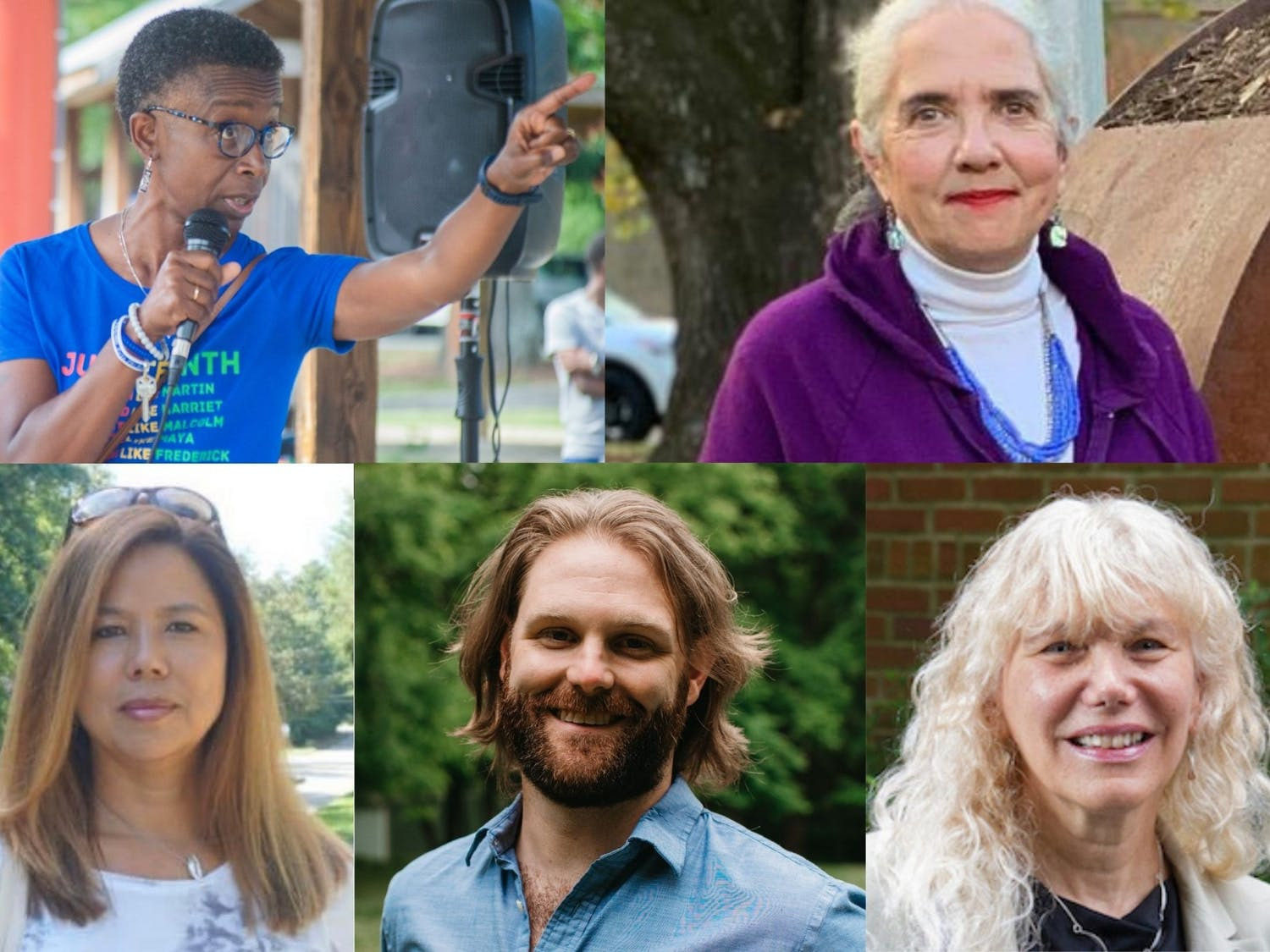 Clockwise from top left: Barbara Foushee, Jacquelyn Gist, Aja Kelleher, Danny Nowell and Randee Haven-O'Donnell are candidates for Carrboro Town Council. Photos by Helen McGinnis and courtesy of Jacquelyn Gist, Aja Kelleher, Danny Nowell and the Town of Carrboro.
