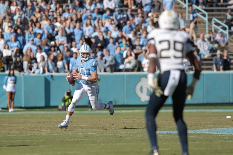 UNC true first-year quarterback Jace Ruder looks to throw a pass during the team's 38-28 loss to Georgia Tech on Nov. 3.