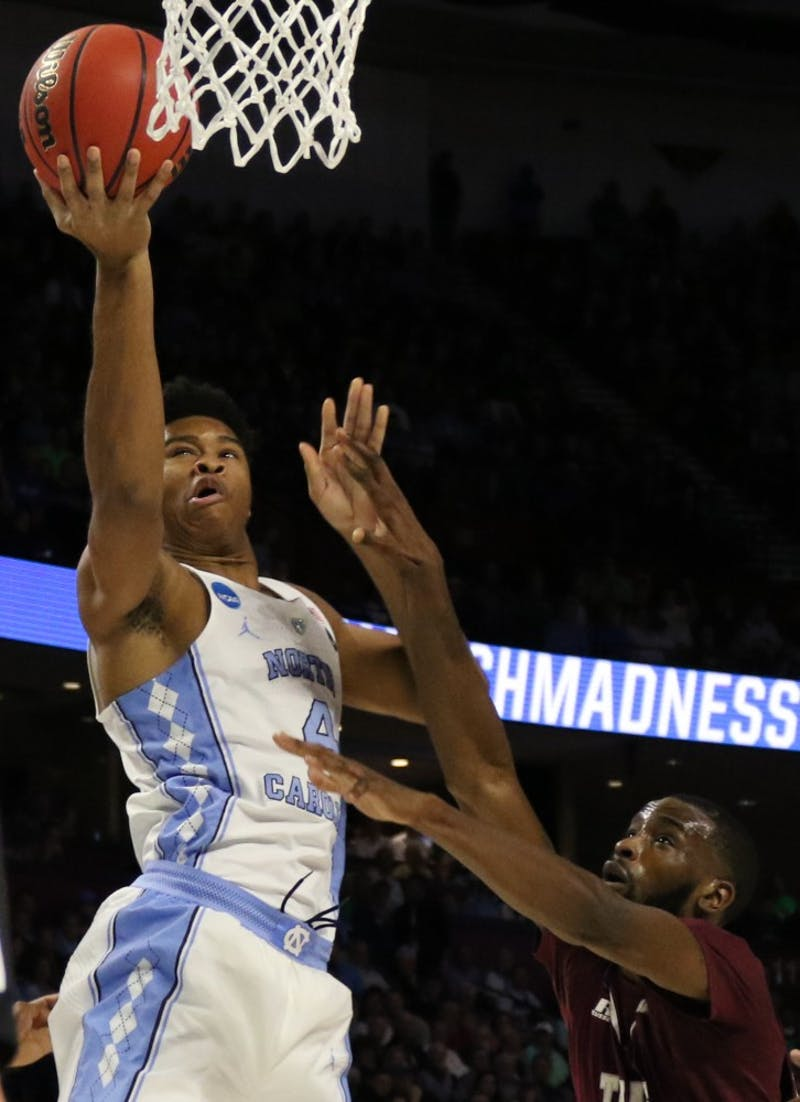 North Carolina forward Isaiah Hicks (4) rises for a lay in against Texas Southern in the first round of the NCAA Tournament in Greenville on Friday.