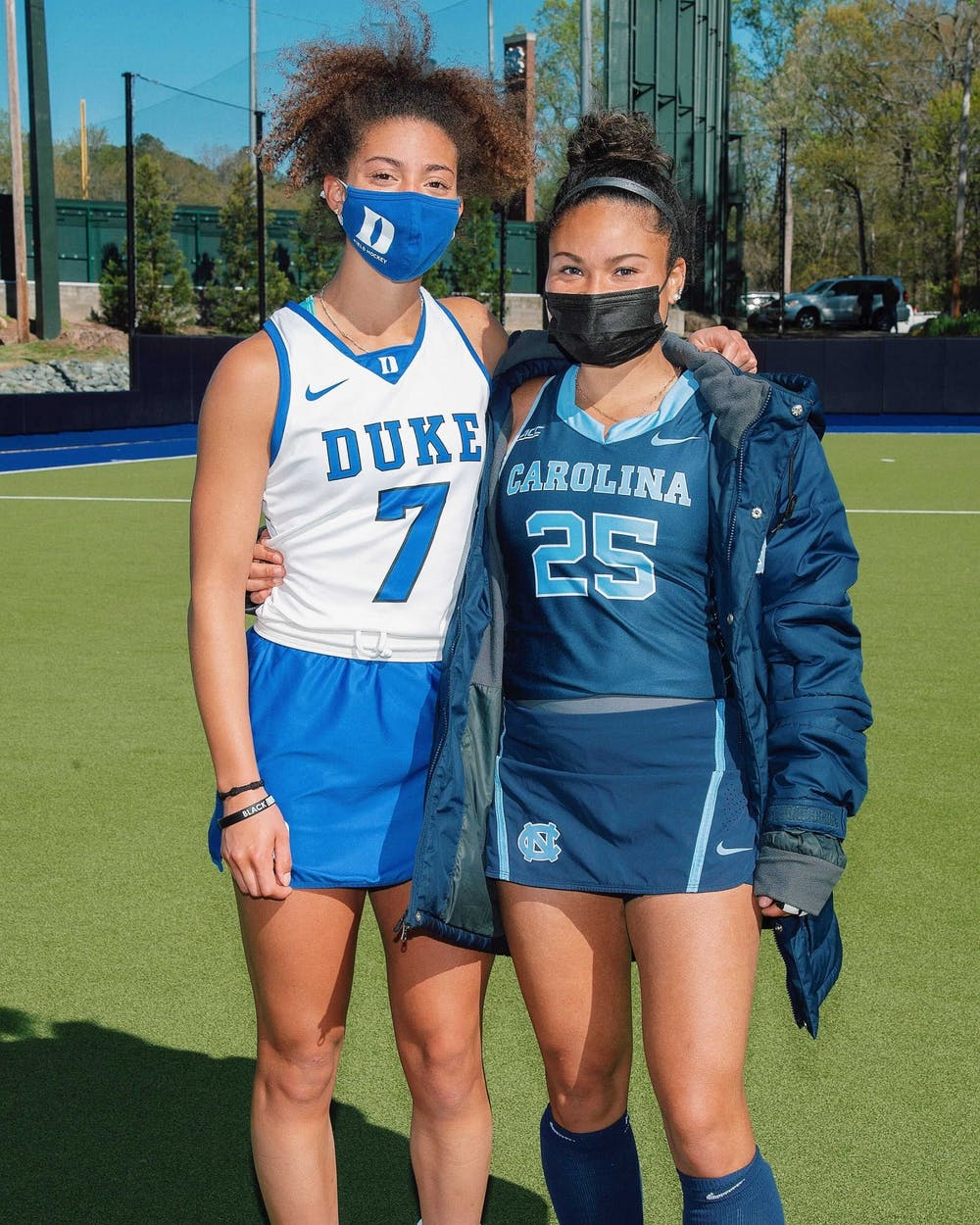 """UNC field hockey player Courtnie Williamson (right) and Duke field hockey player Darcy Bourne (left) founded """"Beyond Our Game"""" in February 2021 to help minority athletes in creating careers after college. Photo courtesy of Courtnie Williamson."""