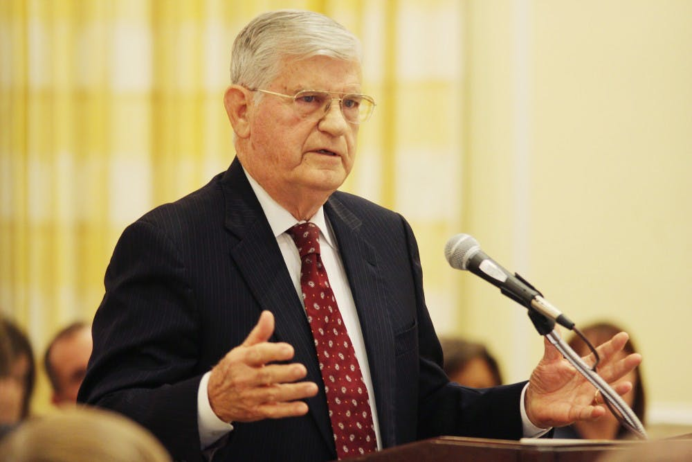 """<p>Former governor Jim Martin explains the findings of the report on academic irregularities at <span class=""""caps"""">UNC</span> during a <span class=""""caps"""">BOT</span> meeting on Thursday. </p>"""