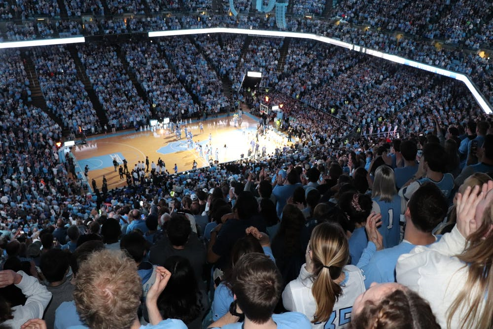 Students watch UNC basketball play Duke in the Smith Center on Saturday, Feb. 8, 2020. UNC lost to Duke in overtime 98-96.