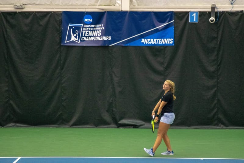 UNC sophomore Alle Sanford prepares to serve during the 15th Annual Kitty Harrison Invitational Competition against her opponent, Holly Hutchinson of ODU on Sunday, Nov. 4, 2018.