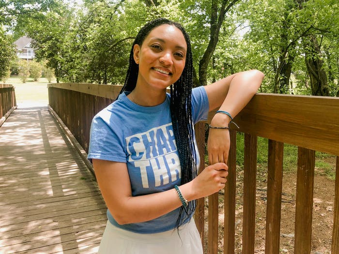"Shelby Armstrong, an incoming transfer student at UNC, poses for a virtual portrait in her hometown of Charlotte, NC, on Sunday, Apr. 25, 2021.  ""If you have the opportunity to Carolina, you might as well go,"" says Armstrong, an incoming junior studying communications. ""Unless, I guess, if you have the opportunity to go to Harvard,"" she jokes."