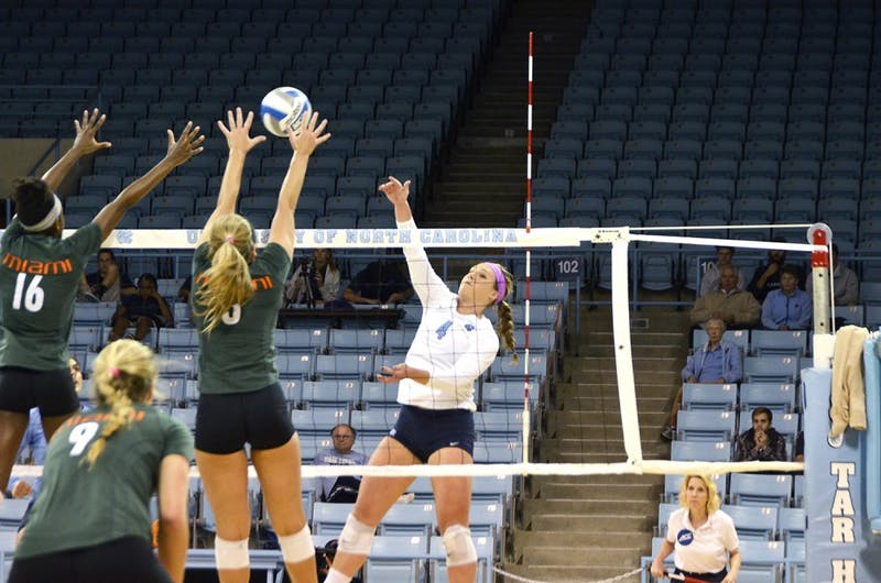 Leigh Andrew, a junior outside hitter, spikes a ball against Miami on Friday. UNC won 3-0 against the Miami Hurricanes.