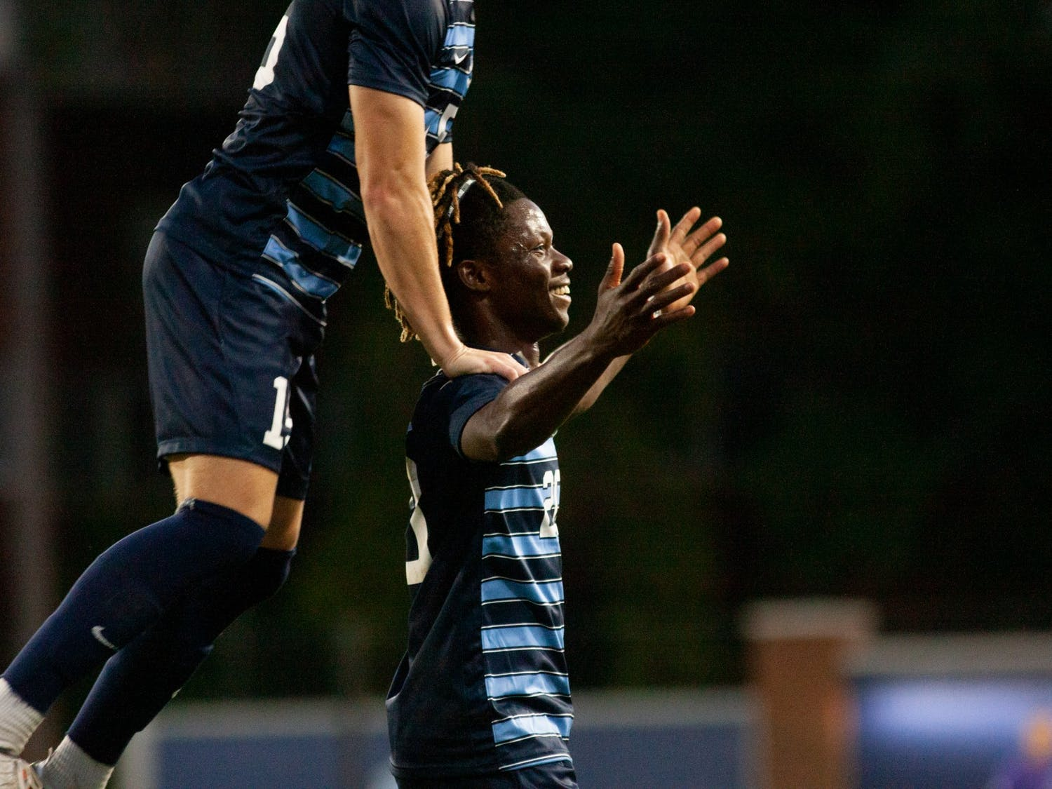 UNC sophomore midfielder/forward Ernest Bawa (20) celebrates after scoring a goal against Georgia Southern at Dorrance Field on Sept. 3. The Tar Heels won 3-0 against the Georgia Southern Eagles.