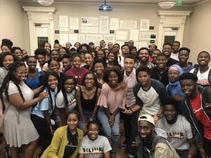 """Members of the Black Student Movement after a """"Battle of the Sexes"""" event that had a turnout of over 70 people. Photo courtesy of Alex Robinson."""