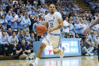 UNC's freshman guard Cole Anthony (2) dribbles down the court during a game against Gardner-Webb on Friday, Nov. 15, 2019.
