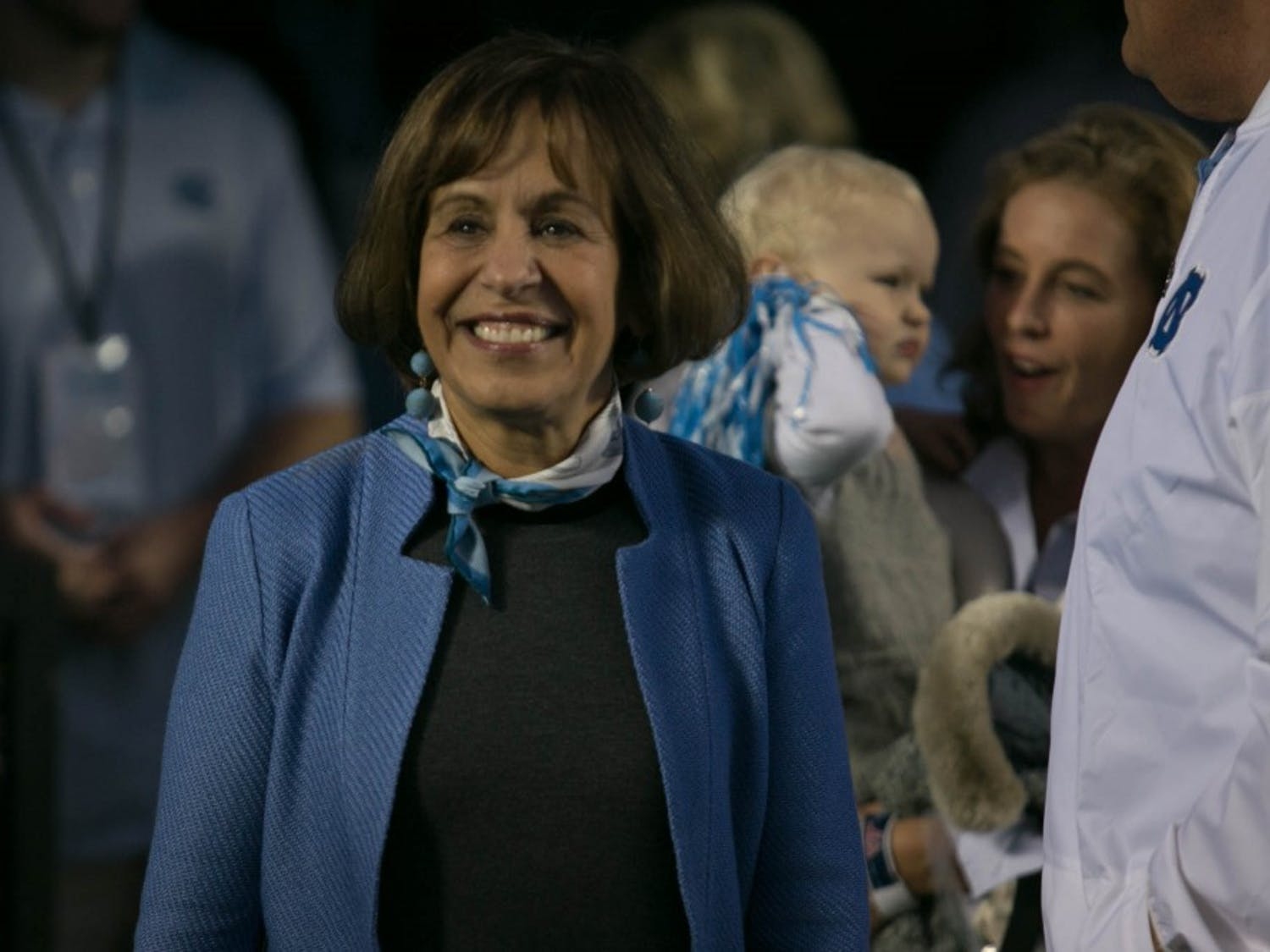 Chancellor Carol Folt attends the UNC football game against Virginina Tech on Saturday, Oct. 13, 2018 in Kenan Memorial Stadium. Folt announced that she will be stepping down from her position as chancellor in an email sent to the University community on Monday, Jan. 14, 2018.