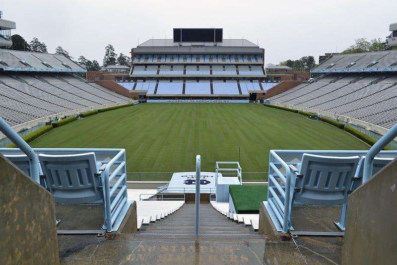 Construction on Kenan Stadium ended Wednesday, finishing with laying freshsod.
