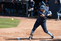 UNC junior pitcher Brittany Pickett (28) bats during a double header against the FSU Seminoles at G. Anderson Softball Stadium on Monday, April 15, 2019. The Tar Heels beat the Seminoles in both games.