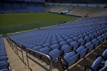 New Carolina blue seats are installed in Kenan Memorial Stadium on September 29th, 2018.