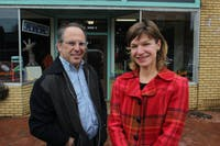 Mark Dorosin (left) and Elizabeth Haddix (right), co-directors of the newly founded Julius L. Chambers Center for Civil Rights, pose for a portrait outside the new center in Pittsboro, NC.
