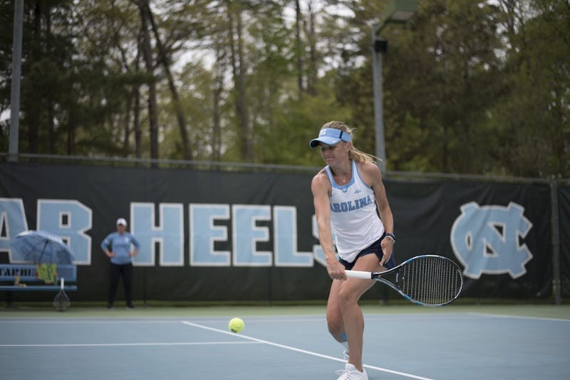 Senior Marika Akkerman hits a backhand against Pittsburgh on April 22 at the Cone-Kenfield Tennis Center.