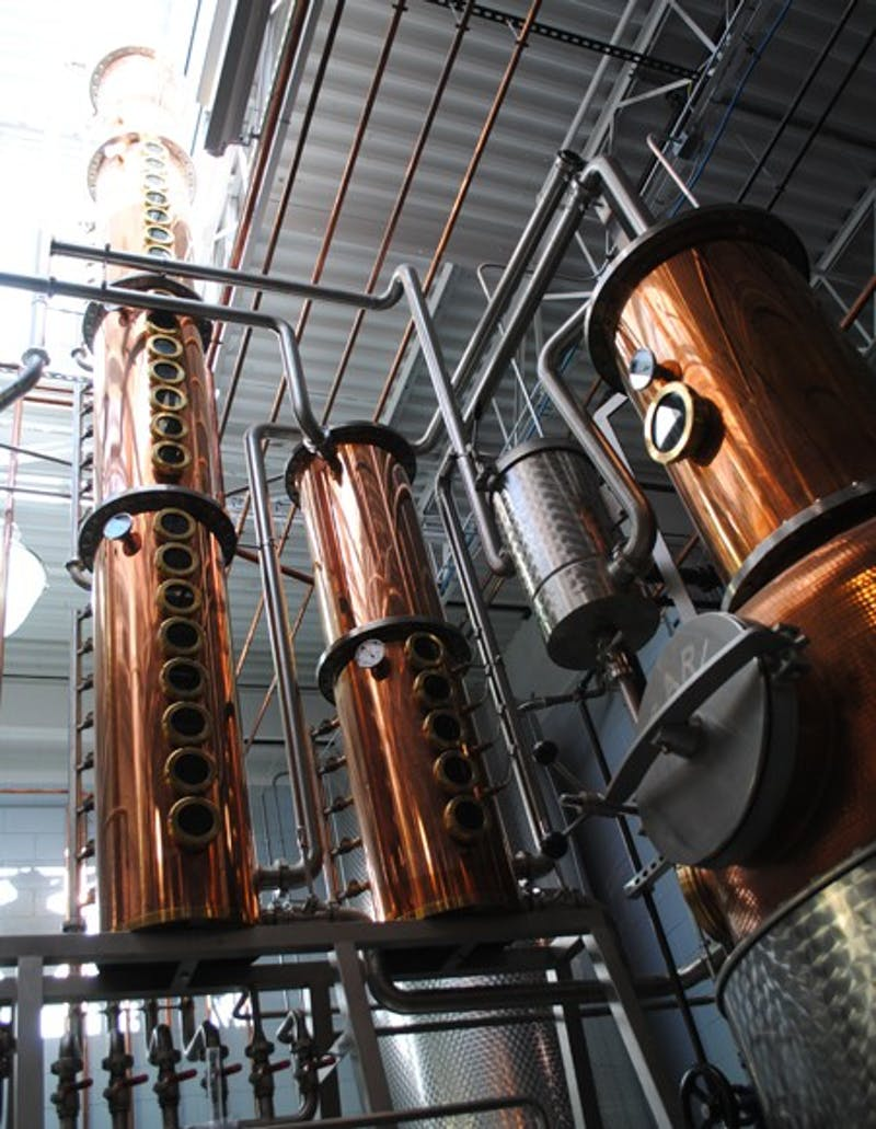 Top of the Hill's new distillery, which has been under construction for the past two and a half years, recently underwent a trial run to produce distilled alcohol.