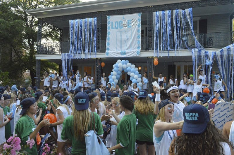 The KD house lights up as new members are welcomed in for the first time.