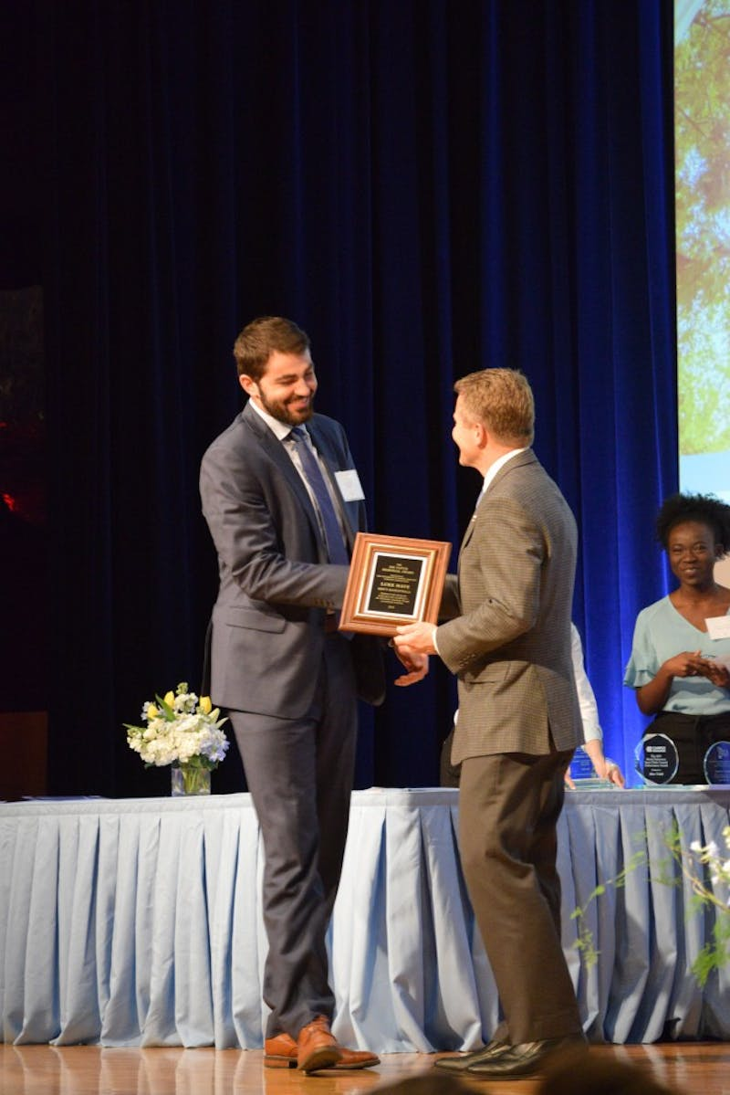 Senior UNC basketball player, Luke Maye receiving the Jim Tatum Memorial Award during the Chancellor's Awards Ceremony on Tuesday, Apr. 16, 2019.