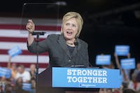 Presumptive Democratic Presidential Nominee Hillary Clinton spoke in the North Carolina State Fair Grounds Exhibition Center on Wednesday, June 22.