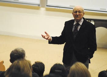 Irving Roth tells of his survival during the Holocaust Monday evening.