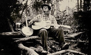 Dom Flemons of the Carolina Chocolate Drops in Durham, NC. Tintype photo