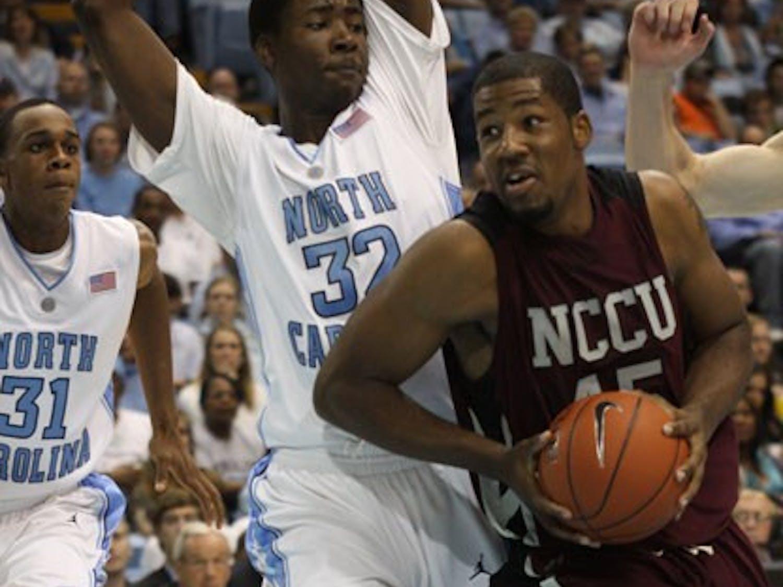 Ed Davis plays defense against N.C. Central University.