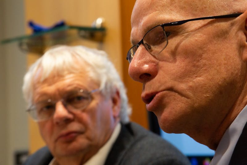 Lloyd Kramer (left), chair of the Faculty Executive Committee, looks on as Robert Blouin, executive vice chancellor and provost, speaks during an FEC meeting on Monday, Nov. 18, 2019. Blouin briefly addressed an initiative to bring learning onto a digital platform moving forward.