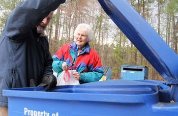 Carol Woods Retirement Community in Chapel Hill is home to the best recyclers in the county. The county is thinking about privatizing their recycling program, which would not be ideal for the residents of Carol Woods. Dick Wood, a resident of Carol Woods, strongly believes in their recycling program, so he helps other residents, including Louise Williams, by educating them on separating wastes and sorting them in their correct bins.