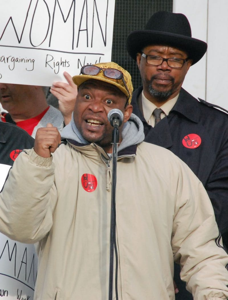 Clyde Clark, former Chapel Hill sanitation worker, speaks on his unjust termination.