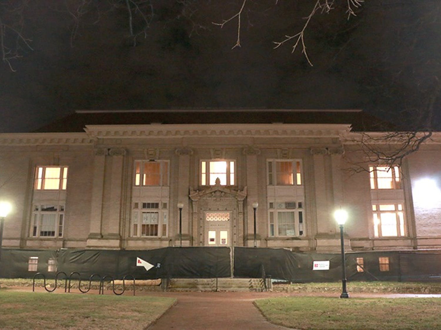 The back of Hill Hall fenced off from the public due to construction.