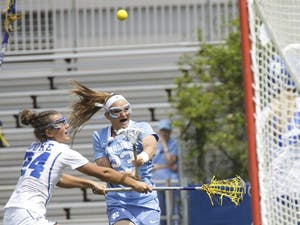 North Carolina women's lacrosse team attacker Molly Hendrickshoots against Duke on April 22. Hendrick finished with a career-high seven goals in both this game and UNC's ACCTournament championship win against Syracuse.
