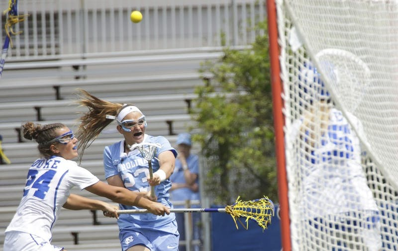 North Carolina women's lacrosse team attacker Molly Hendrick shoots against Duke on April 22. Hendrick finished with a career-high seven goals in both this game and UNC's ACC Tournament championship win against Syracuse.