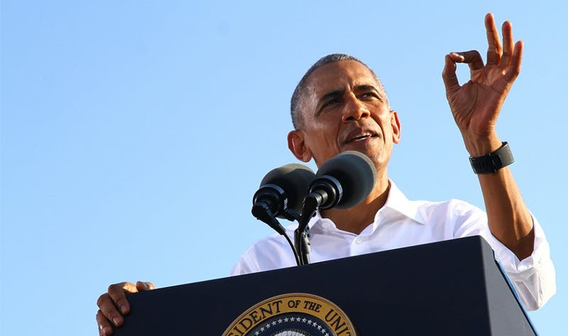 President Barack Obama spoke on Hooker Fields on Wednesday to campaign for Democratic Presidential Nominee Hillary Clinton along with other democrats up for election in North Carolina.