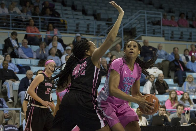 UNC forward Hillary Summers (30) looks for an open shot. Summers scored two points Thursday night.