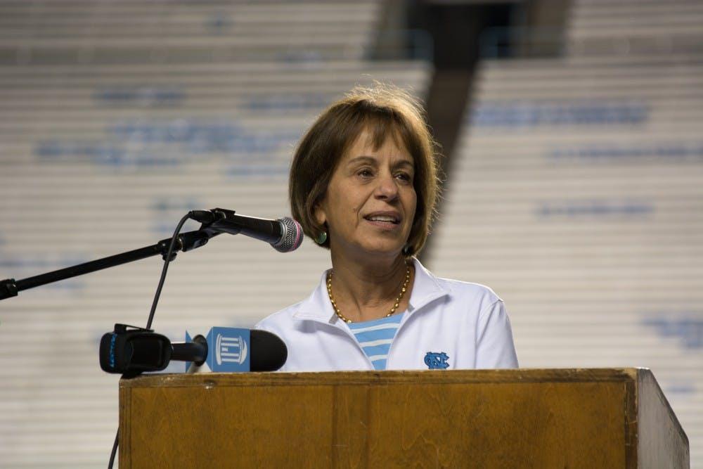 <p>UNC Chancellor Carol Folt speaks at the 2017 9/11 Memorial Stair Climb at Kenan Memorial Football Stadium.</p>