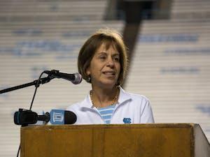 UNC Chancellor Carol Folt speaks at the 2017 9/11 Memorial Stair Climb at Kenan Memorial Football Stadium.