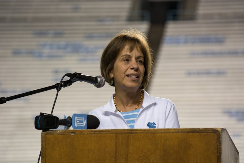 UNC Chancellor Carol Folt speaks at the 2017 9/11 Memorial Stair Climb at Kenan Memorial Football Stadium.