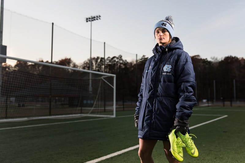 Sophomore midfielder Emily Fox (11) of the UNC women's soccer team poses after practice on Wednesday, Nov. 28, 2018 at Finley Fields North in Chapel Hill, N.C. Fox recently capped and started two games with the US Women's National Team and was named to the US U20 World Cup Team which was held in the summer of 2018.