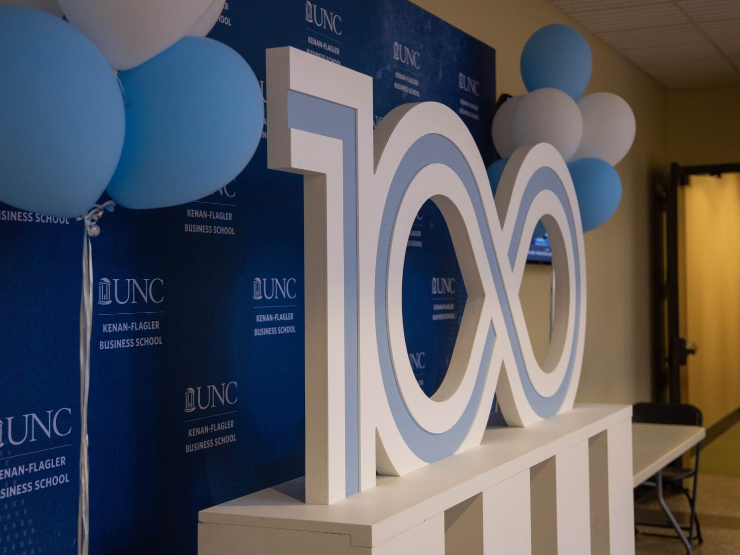 A display in Koury Auditorium honors the 100th anniversary of the Kenan-Flagler Business School. The school will celebrate its centennial here with a time capsule event on Thursday, Dec. 5, 2019 from 12 to 1 p.m.