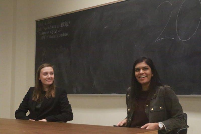 Candidates Savannah Putnam and Garima Tomar participated in the 2018 SBP Debate Monday night in Bingham 103.