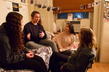 """Erin Campagna, a first-year majoring in English and communications, hangs out with her suitemates, who she said are her """"closest friends."""" Campagna is one of the 500-plus students on Carolina Housing's 2019-20 waitlist."""