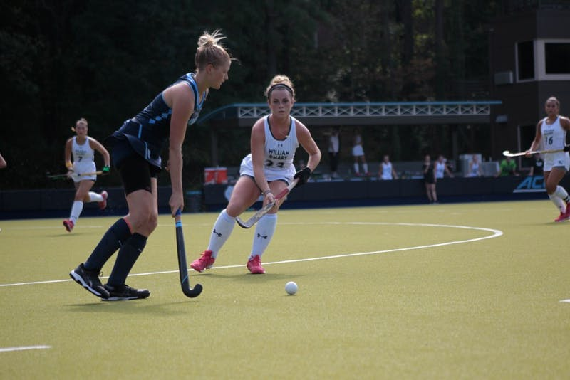 Forward Catherine Hayden Payne (8) prepares to hit the ball on Sunday Sept. 15, 2019. UNC's field hockey team won 8-0 against William and Mary.